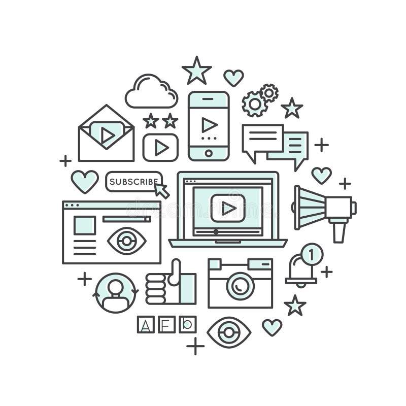 Concepto de uso de las multimedias, de mensajero, de vídeo y del jugador de música, aparato social de la red, como, aprecio stock de ilustración