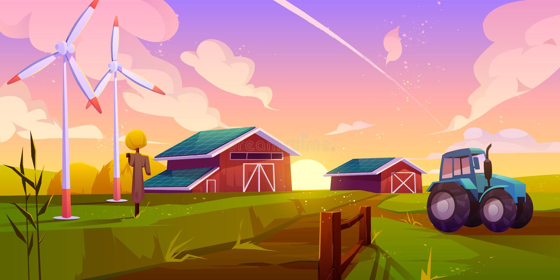Concepto de vector de cartografía de agricultura ecológica inteligente ilustración del vector