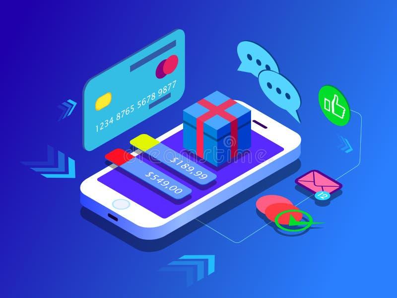 Concepto de ventas del comercio electrónico, en línea haciendo compras, regalo de comercialización digital Plano isométrico isomé stock de ilustración
