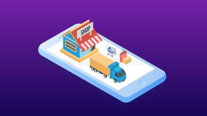 Concepto de ventas del comercio electr?nico, compras en l?nea, m?rketing digital Ejemplo isom?trico del vector ilustración del vector