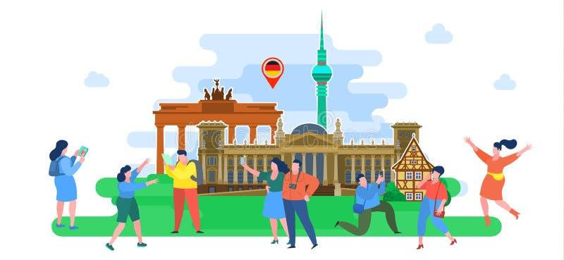 Concepto de viaje o de alem?n el estudiar Turistas en Alemania libre illustration