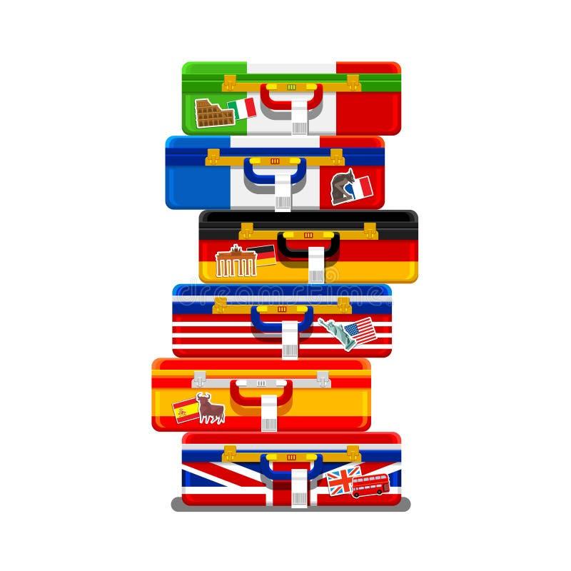 Concepto de viaje o de idiomas el estudiar stock de ilustración