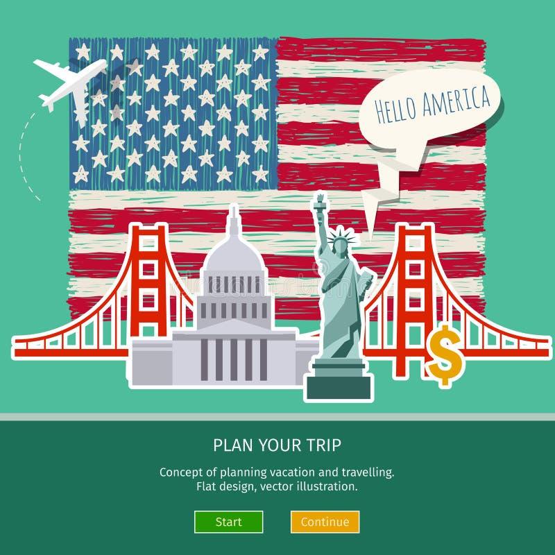 Concepto de viaje o de inglés el estudiar stock de ilustración