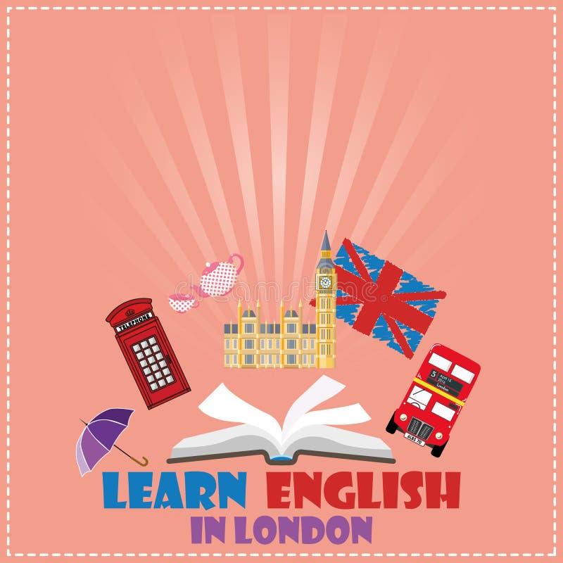 Concepto de viaje o de inglés el estudiar ilustración del vector