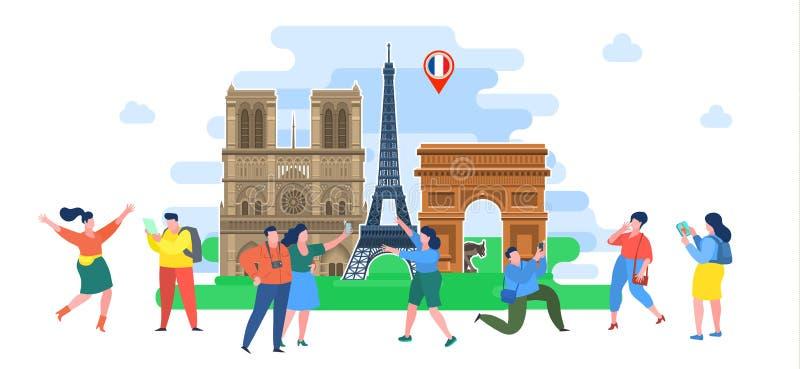 Concepto de viaje o de franc?s el estudiar Turistas en Francia libre illustration