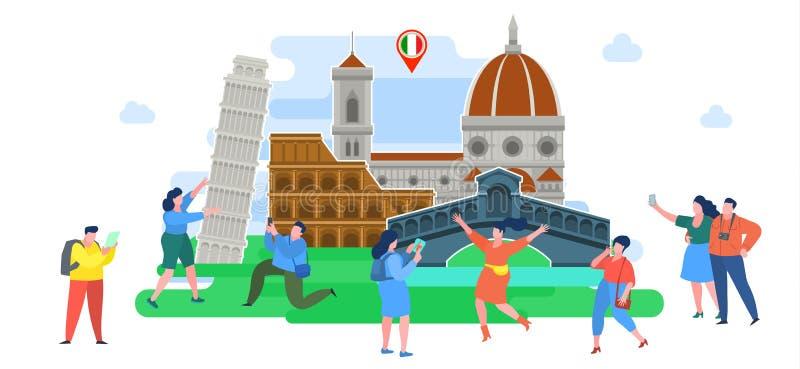 Concepto de viaje o de italiano el estudiar Turistas en Italia ilustración del vector
