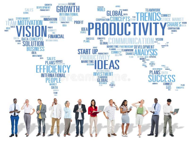 Concepto de Vision del mundo del negocio de la estrategia de la misión de la productividad fotos de archivo
