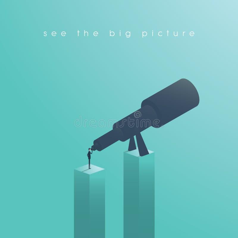 Concepto de Vision en negocio con el icono del vector del hombre de negocios y del telescopio, monocular Vea la imagen grande Sím libre illustration