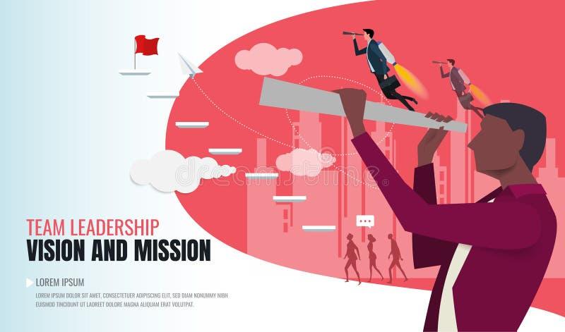 Concepto de Vision en negocio con el icono del vector del hombre de negocios y del telescopio stock de ilustración