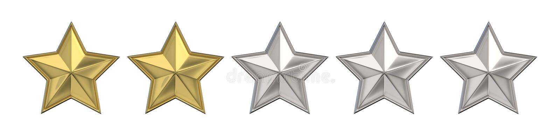 Concepto de votación Clasificación de dos estrellas de oro 3d rinden libre illustration