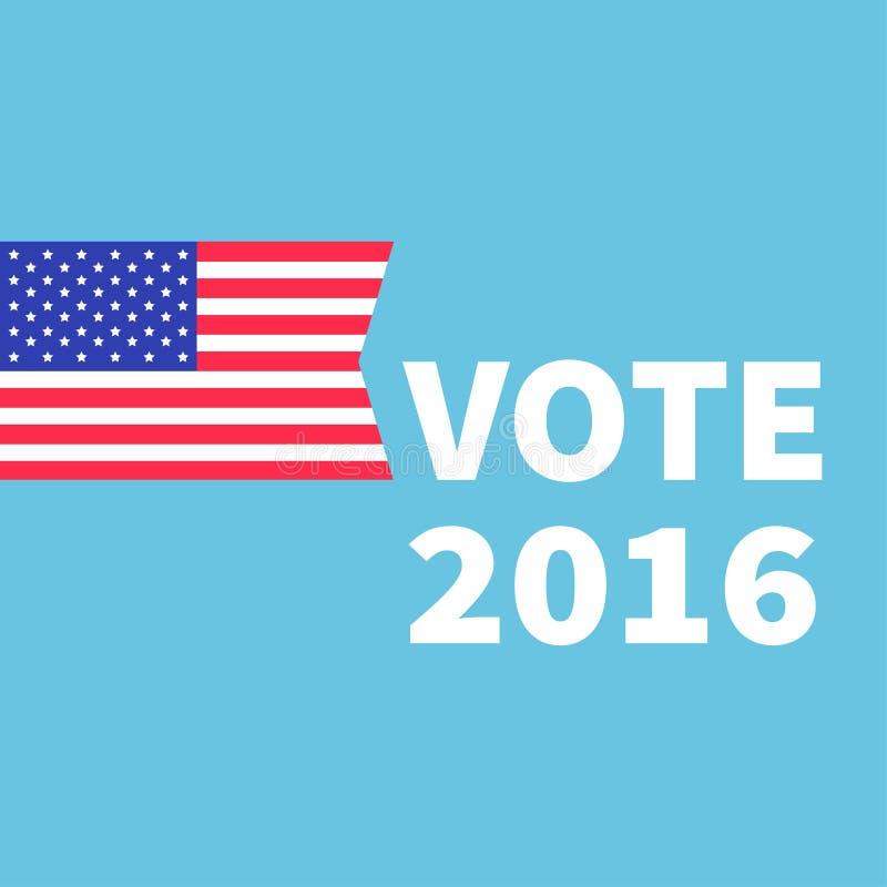 Concepto de votación Día de elección del presidente 2016 Indicador americano Tarjeta plana aislada del diseño del fondo azul stock de ilustración