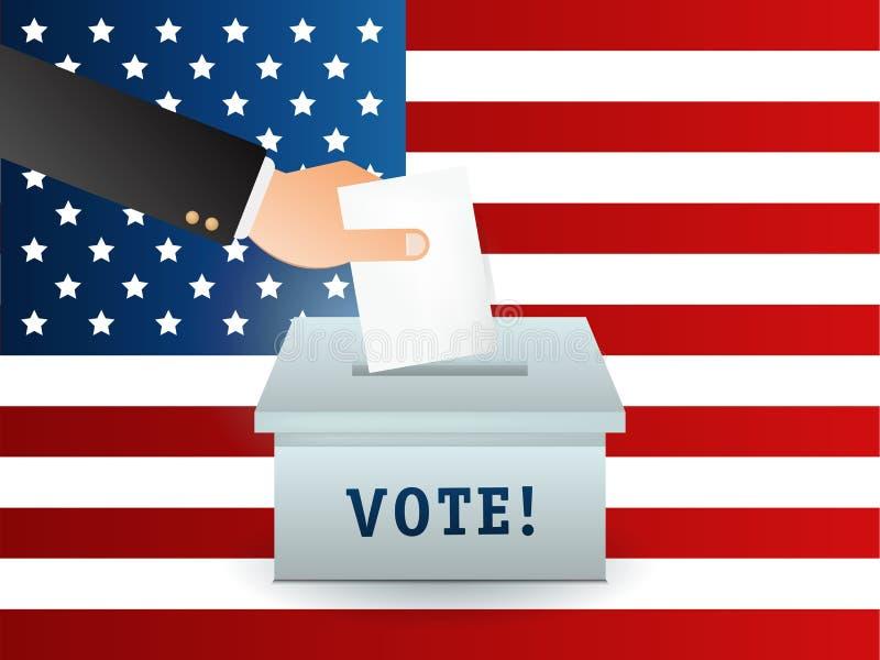 Concepto de votación en estilo plano - dé poner el papel en la urna Indicador libre illustration