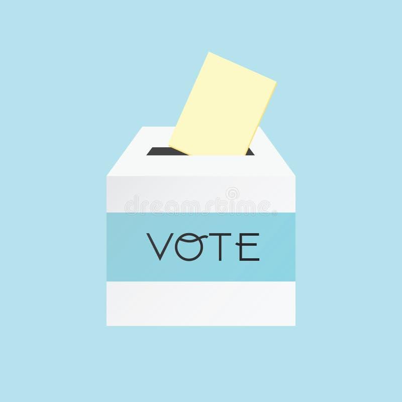 Concepto de votación poniendo el papel en la urna stock de ilustración