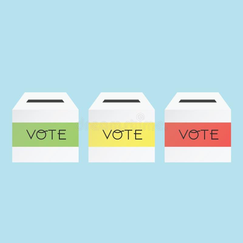 Concepto de votación por la urna tricolor stock de ilustración