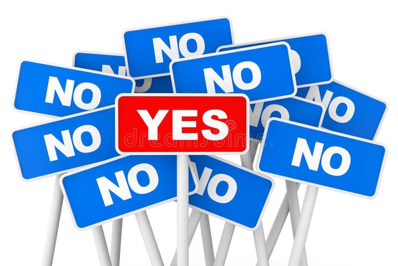 Concepto de votación Sí y ningunas muestras de la bandera fotografía de archivo libre de regalías