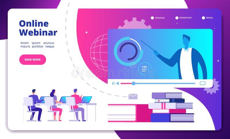 Concepto de Webinar Vector video del curso de aprendizaje de los webinars del seminario del altavoz del estudiante de la web de l stock de ilustración