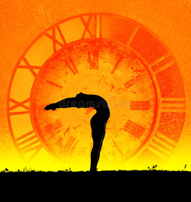 Concepto de yoga y de tiempo fotos de archivo libres de regalías