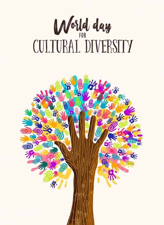 Concepto del árbol de la mano para el día de la diversidad cultural libre illustration