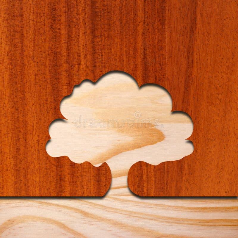 Concepto del árbol en madera fotografía de archivo