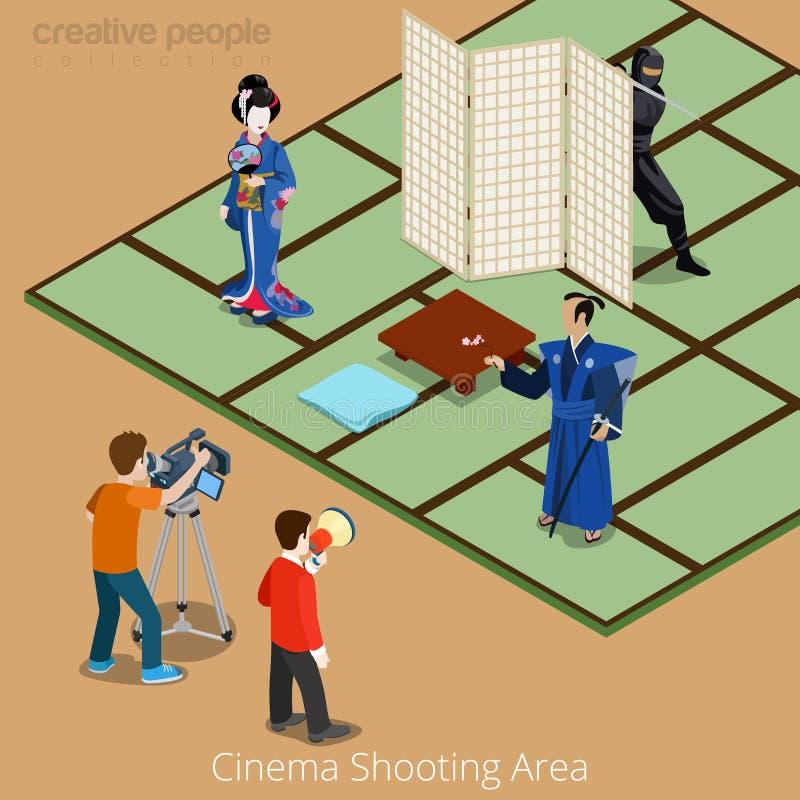 Concepto del área del cine que tira Geisha del samurai de Japón ilustración del vector