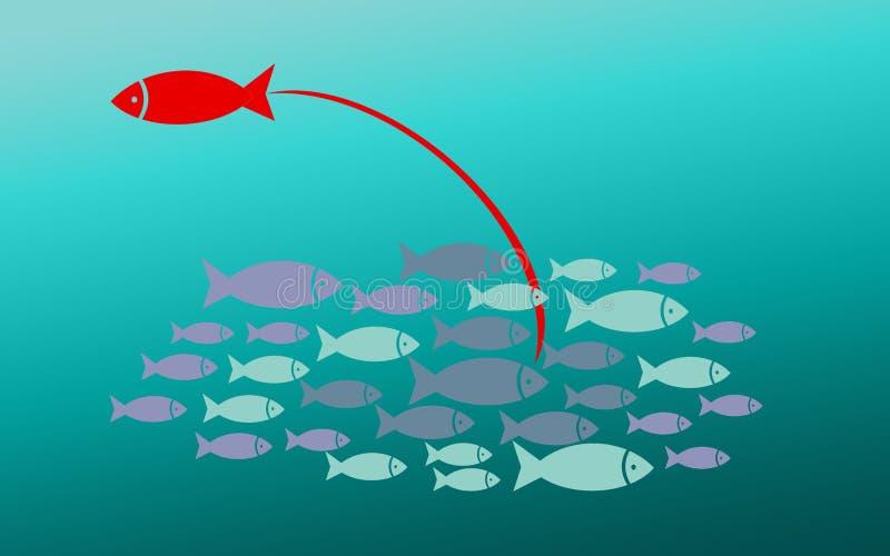 Concepto del éxito con el pequeño grupo de los pescados libre illustration