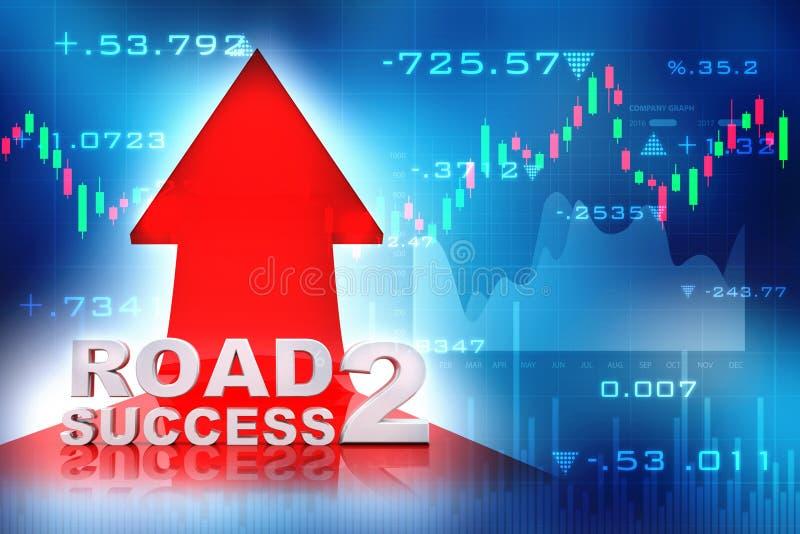 Concepto del éxito empresarial, camino al éxito 3d rinden stock de ilustración