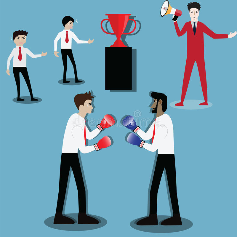 Concepto del éxito empresarial, dos hombres de negocios que tienen una lucha con la caja ilustración del vector