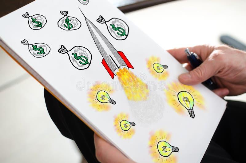 Concepto del éxito empresarial en un papel imagen de archivo