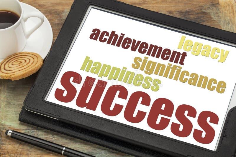 Concepto del éxito en la tableta digital foto de archivo libre de regalías