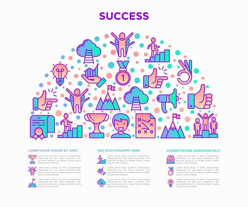 Concepto del éxito en semi-círculo con la línea fina iconos: trofeo, idea, pico de montaña, carrera, megáfono, estrategia, escale stock de ilustración