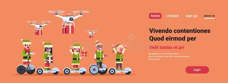 Concepto del Año Nuevo del día de fiesta de la Navidad del servicio de entrega del abejón eléctrico de la vespa del paseo del ayu stock de ilustración