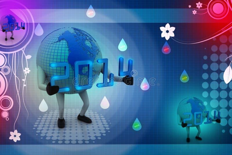 concepto 2014 del Año Nuevo 3d con el globo de la tierra ilustración del vector