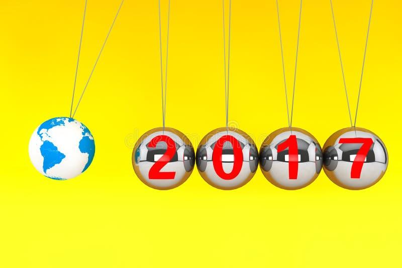 Concepto del Año Nuevo Esferas de Newton con tierra del globo y si 2017 stock de ilustración