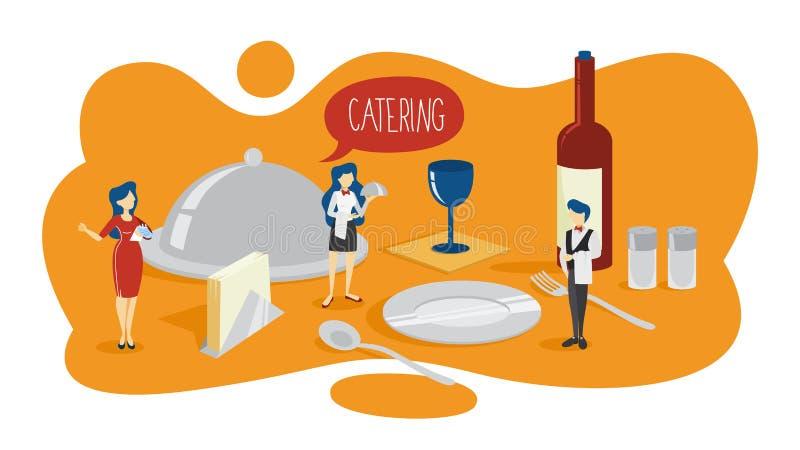 Concepto del abastecimiento Idea de la alimentación en el hotel libre illustration