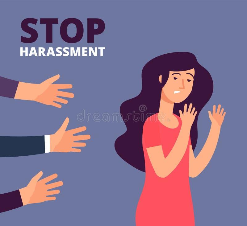 Concepto del acoso sexual La mujer y sirve las manos Pare el abuso, contra fondo del vector de la violencia libre illustration