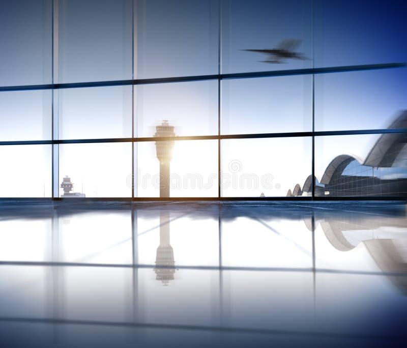 Concepto del aeroplano del vuelo de la industria aeroespacial del terminal de aeropuerto imagen de archivo