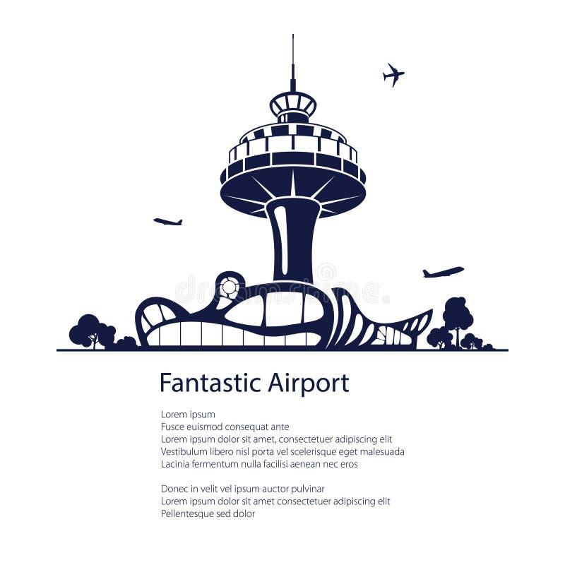 Concepto del aeropuerto, del viaje y del turismo stock de ilustración