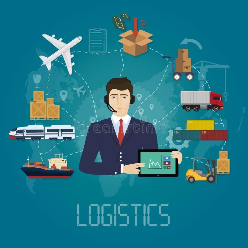 Concepto del agente del encargado de la logística del vector Ejemplo del servicio del vector del cargo de la entrega ilustración del vector