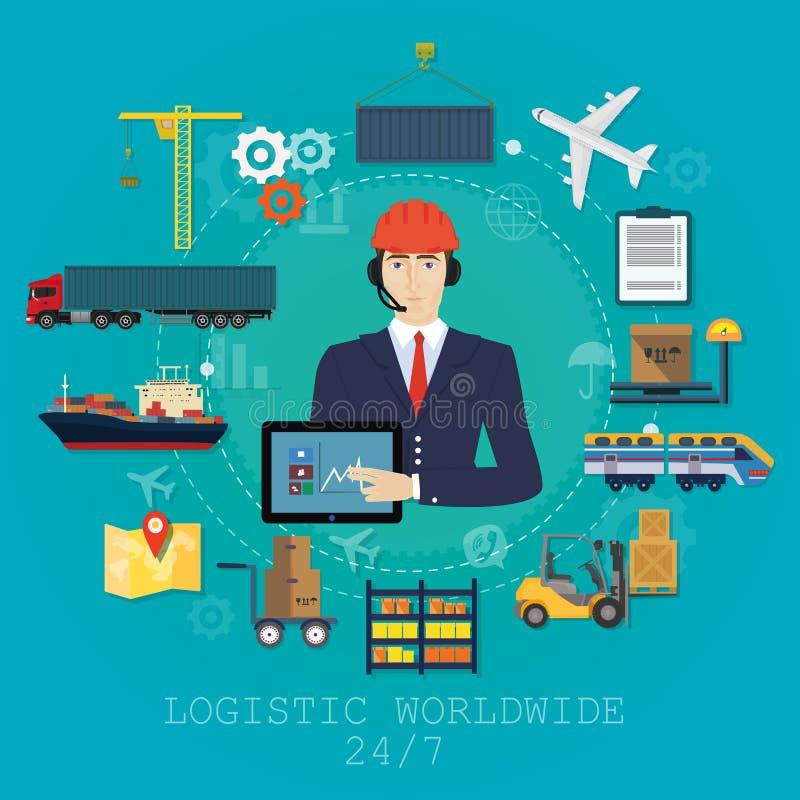 Concepto del agente del encargado de la logística del vector Ejemplo del servicio del vector del cargo de la entrega stock de ilustración