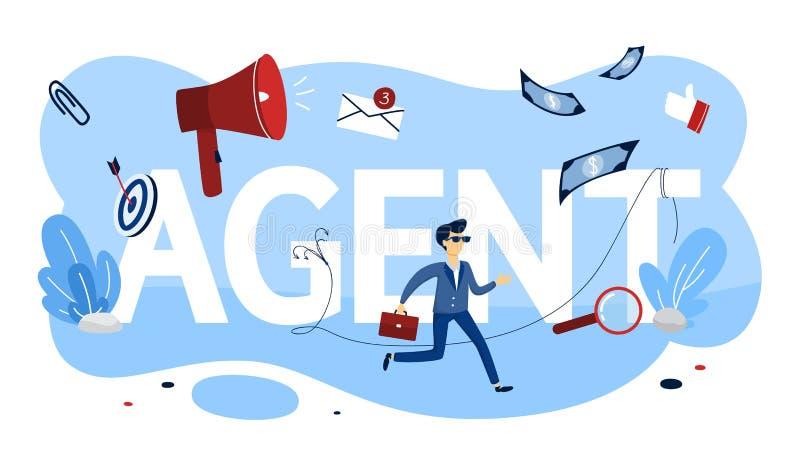 concepto del agente Idea de la recogida de la seguridad y de información confidencial libre illustration