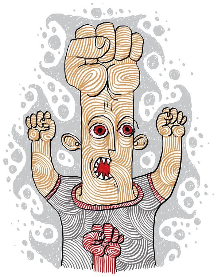 Concepto del agresor, ejemplo a mano de la persona extraña ilustración del vector