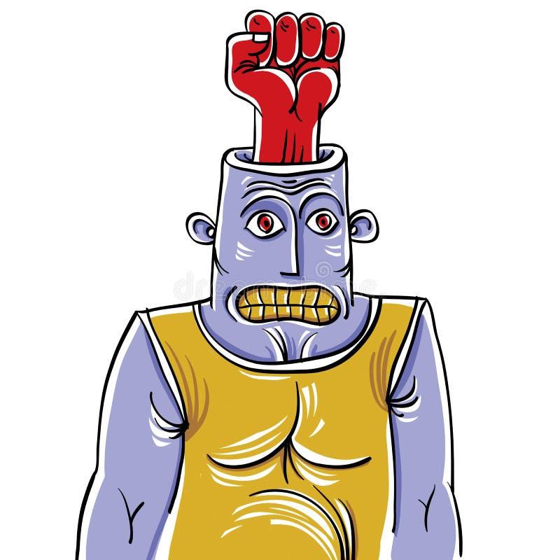 Concepto del agresor, ejemplo a mano de un ingenio extraño de la persona libre illustration