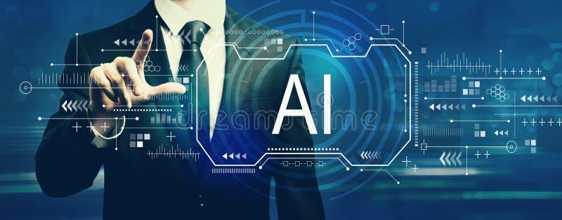 Concepto del AI con el hombre de negocios foto de archivo