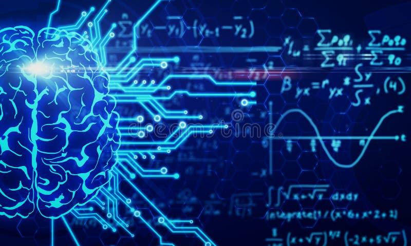 Concepto del AI y de la matemáticas fotografía de archivo