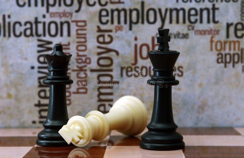 Concepto del ajedrez y del empleo foto de archivo