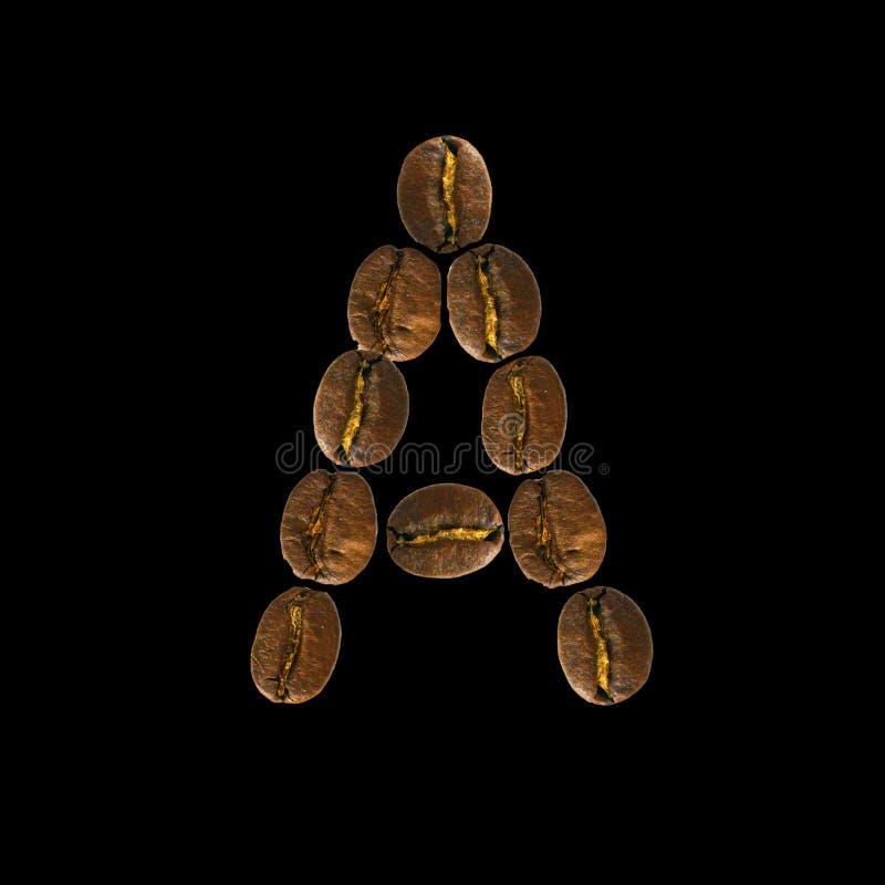 Concepto del alfabeto de la fuente del caf? aislado en el fondo blanco Alfabeto de la visi?n superior hecho de los granos de caf? fotografía de archivo libre de regalías