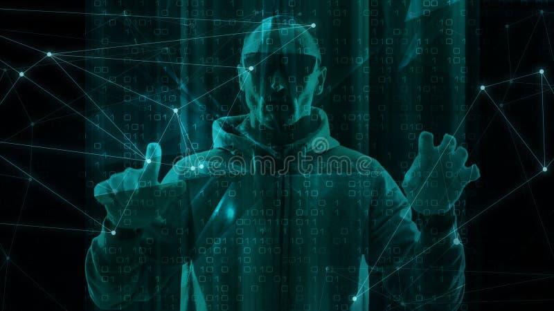 Concepto del algoritmo, caos triangular de las formas, sistema de seguridad cibernético ilustración del vector