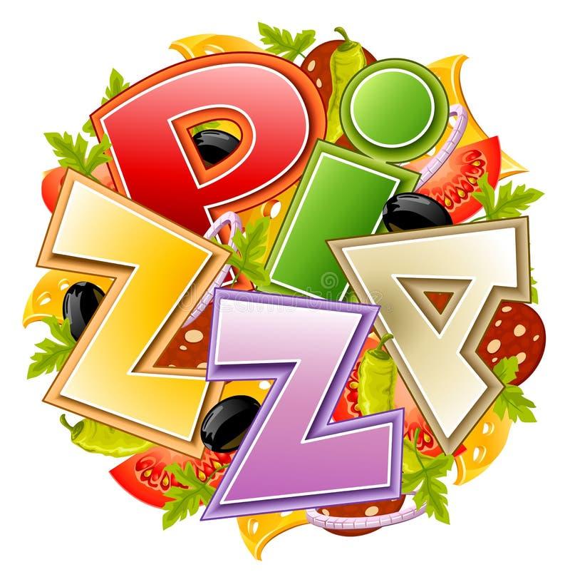 Concepto del alimento de la pizza stock de ilustración