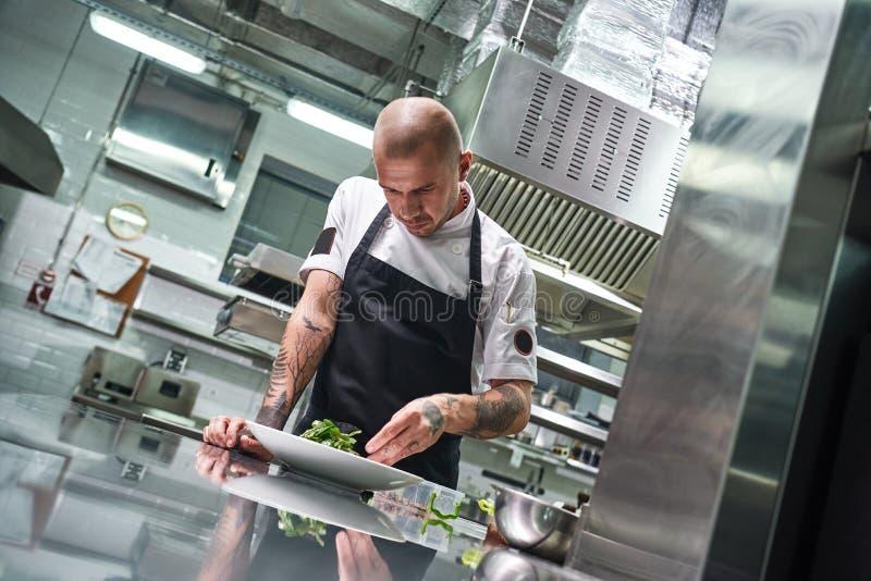 Concepto del alimento Retrato del cocinero profesional hermoso en delantal negro que adorna una ensalada en la placa mientras que fotos de archivo