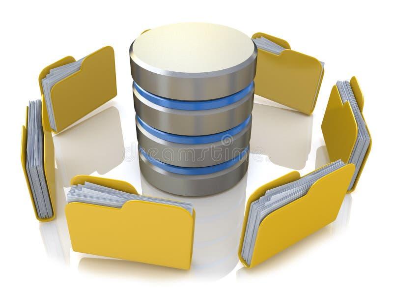 Concepto del almacenamiento de la base de datos en los servidores en nube imagen 3D aislada stock de ilustración